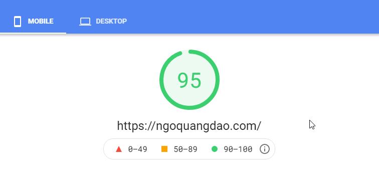 95 điểm Google PageSpeed trên Mobile